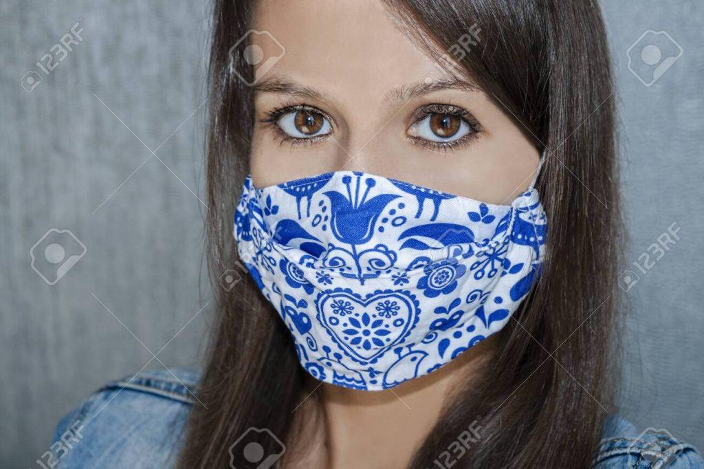 Woman wearing a Covid mask